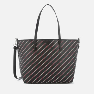 Karl Lagerfeld Women's Stripe Logo Shopper Bag - Black