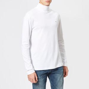 Calvin Klein Jeans Men's CKJ Logo Long Sleeve Regular Turtleneck T-Shirt - Bright White