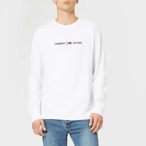 Tommy Jeans Men's TJM Small Text Long Sleeve T-Shirt - Classic White