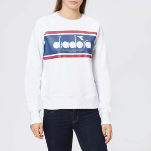 Diadora Women's L. Spectra Crew Neck Sweatshirt - White/Estate Blue
