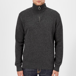 Barbour Men's Lambswool Half Zip Knitted Jumper - Charcoal