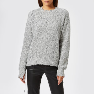 Helmut Lang Women's Distressed Relaxed Jumper - Black White Marl