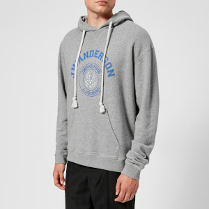 JW Anderson Men's University Print Hoodie - Light Grey Melange