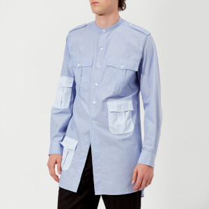 JW Anderson Men's Contrast Pockets Workwear Long Shirt - Indigo