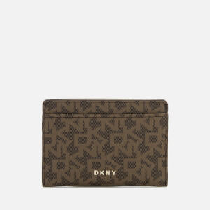 DKNY Women's Bryant Logo Card Holder - Mocha Logo Vicuna