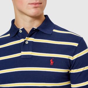 Polo Ralph Lauren Men's Stripe Short Sleeve Polo Shirt - Newport Navy/Artic Yellow: Image 4