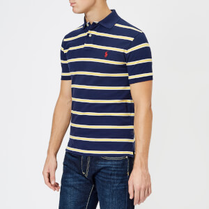 Polo Ralph Lauren Men's Stripe Short Sleeve Polo Shirt - Newport Navy/Artic Yellow: Image 1