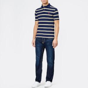 Polo Ralph Lauren Men's Stripe Short Sleeve Polo Shirt - Newport Navy/Artic Yellow: Image 3