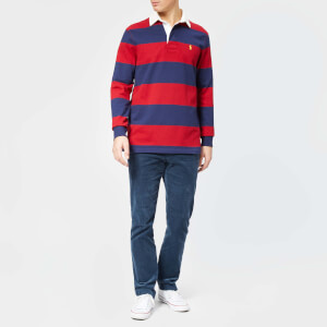 Polo Ralph Lauren Men's Stripe Long Sleeve Rugby Shirt - Eaton Red/Newport Navy: Image 3