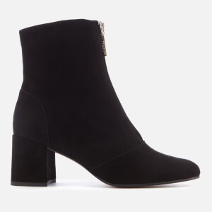 Whistles Women's Rowan Suede Front Zip Heeled Ankle Boots - Black