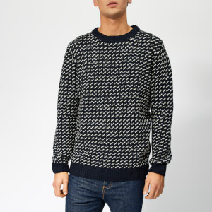 Joules Men's Calder Nordic Patterned Chunk Knitted Jumper - Marine Navy