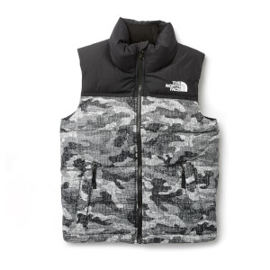 The North Face Boys' Nuptse Down Vest - TNF Black Textured Camo Print