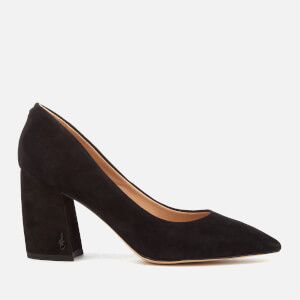 Sam Edelman Women's Tatiana Suede Block Heeled Court Shoes - Black