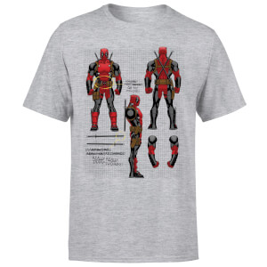 Marvel Deadpool Action Figure Plans Men's T-Shirt - Grey