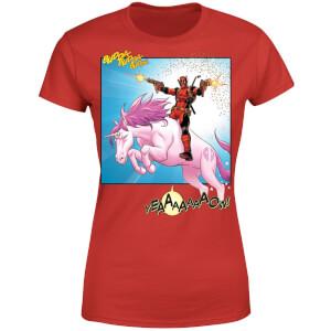 T-Shirt Femme Deadpool Et Licorne De Combat - Rouge