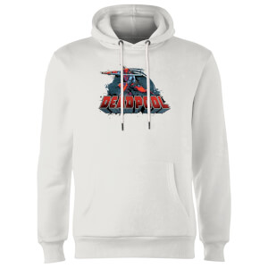 Sweat à Capuche Homme Logo Deadpool et Épée Marvel - Blanc