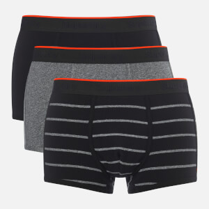 Superdry Men's Orange Label Sport Triple Pack Trunks - Black/Black Grindle/Black Grindle