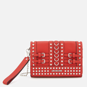 Love Moschino Women's Studded Small Cross Body Bag - Red