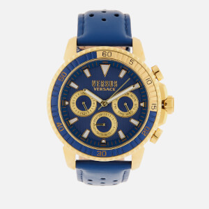 Versus Versace Men's Aberdeen Leather Strap Watch - Navy/Gold