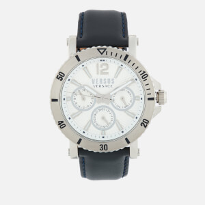 Versus Versace Men's Steenberg Leather Strap Watch - Navy/Silver