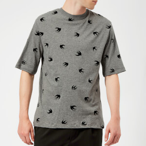 McQ Alexander McQueen Men's All Over Swallow T-Shirt - Stone Grey Melange