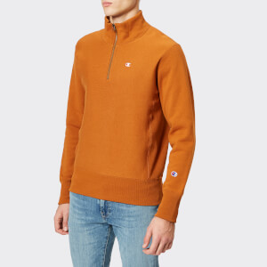 Champion Men's Half Zip Sweatshirt - Brown