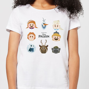 Frozen Emoji Heads Dames T-shirt - Wit