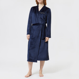 Emporio Armani Women's Shiny Velvet Dressing Gown - Deep Blue