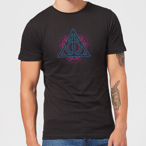 Harry Potter Neon Deathly Hallows Herren T-Shirt - Schwarz