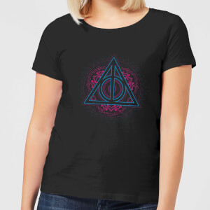 Harry Potter Neon Deathly Hallows Dames T-shirt - Zwart