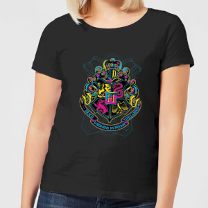 Harry Potter Neon Hogwarts Crest Dames T-shirt - Zwart
