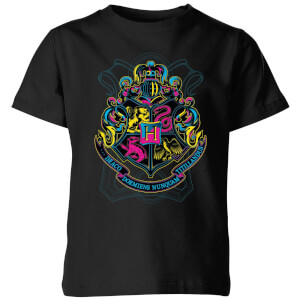 Harry Potter Neon Hogwarts Crest Kinder T-Shirt - Schwarz