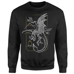Harry Potter Dragon Line Art Sweatshirt - Black
