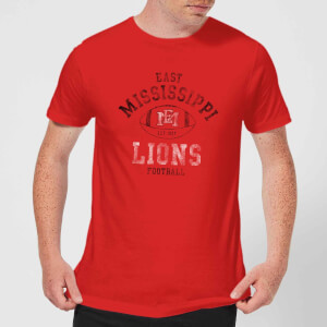 T-Shirt Homme Lions Football Effet Abîmé - East Mississippi Community College - Rouge
