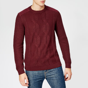 Ted Baker Men's Laichi Cable Crew Neck Knitted Jumper - Dark Red
