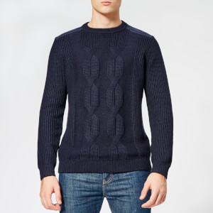 Ted Baker Men's Laichi Cable Crew Neck Knitted Jumper - Navy