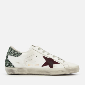 Golden Goose Deluxe Brand Women's Superstar Trainers - White/Green Glitter Heel