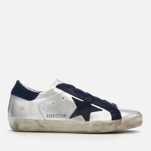 Golden Goose Deluxe Brand Women's Superstar Trainers - Silver Leather/Navy Star