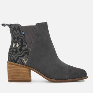 TOMS Women's Esme Suede/Metallic Jacquard Heeled Chelsea Boots - Forged Iron
