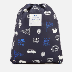 Joules Boys' Junior Rubber Drawstring Bag - Navy Happy Camper