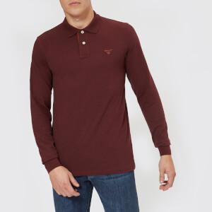 GANT Men's Contrast Collar Long Sleeve Pique Polo Shirt - Dark Burgundy
