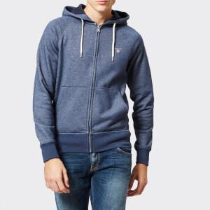 GANT Men's Original Full Zip Hoody - Dark Jeans Blue Melange