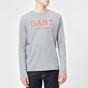 GANT Men's Graphic Long Sleeve T-Shirt - Grey Melange