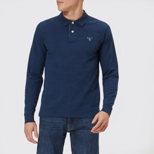 GANT Men's Contrast Collar Long Sleeve Pique Polo Shirt - Dark Indigo Melange
