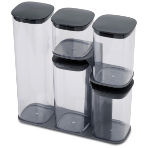 Joseph Joseph Podium 5-Piece Storage Jar Set With Stand - Grey