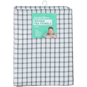 Jamie Oliver 2 Pack Woven Tea Towels - Storm Grey