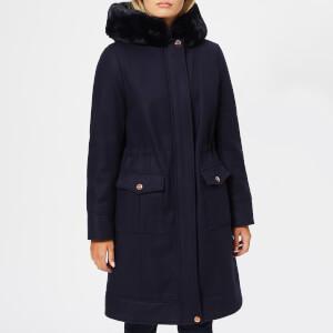 Ted Baker Women's Aniyah Faux Fur Hooded Wool Parka - Blue