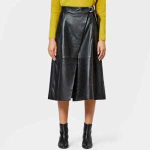 Whistles Women's Leather Wrap Skirt - Black