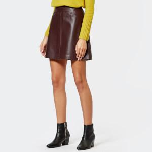 Whistles Women's Leather A-Line Skirt - Burgundy