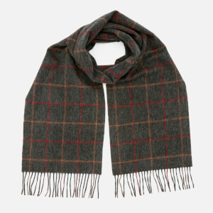 Barbour Men's Tattersall Lambswool Scarf - Charcoal Red